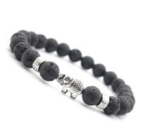 bracelet naturel des yeux du tigre achat en gros de-JLN Bouddha Éléphant Tibétain Bracelet Power Perles Naturel Agate Oeil De Tigre Volcanique Blanc Howlite Tibétain Bracelet Pulseras Pour Homme Et Femme