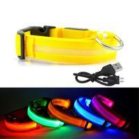 colar usb venda por atacado-Recarregável USB LED Dog Collar Noite de Segurança Piscando Brilho Pet Cat Dog Collar Com Cabo USB de Carregamento Cães Acessório