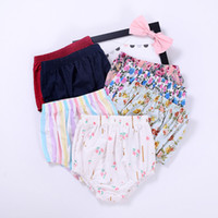 Wholesale flower print leggings - Baby Shorts Striped Floral Printed Short Pants Triangular Shorts Baby Girls Leggings Pure Cotton Outfit 0-24M