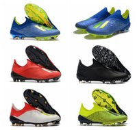Wholesale blackout football shoes resale online - 2018 mens soccer cleats x fg soccer shoes original football boots outdoor scarpe da calcio high quality Nemeziz blackout