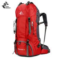 yürüyüş sırt çantası yağmurluk toptan satış-ÜCRETSIZ KNIGHT 60L Kamp Yürüyüş Sırt Çantaları Naylon Açık Seyahat Çantaları Sırt Çantaları Taktik Spor Tırmanma Çantası Yağmur Kapak ile 50L