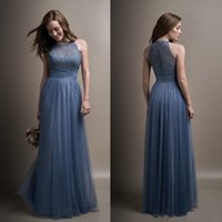 Wholesale Ocean Coral - 2018 Ocean Blue Chiffon A-Line Bridesmaid Dresses Sheer Jewel Neck Maid Of Honor Long Evening Gowns Cheap Plus Size Custom Made Vestidos