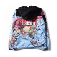 katlar dünya toptan satış-Yeni moda giyim Bayrak mozaik askeri dünya Haritası Ceket Yansıtıcı ceketler palto Erkek Rüzgarlık Ceket Kapşonlu nakış outerw