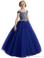 perlenhalskleid großhandel-Neck Lace Perlen 2017 Blumenmädchen Kleider Lace Up Vintage Tüll Kleine Mädchen Festzug Geburtstag Kleider