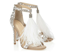 Wholesale Rhinestone Covered Pumps - Women Sandals Pumps Summer Fur Rhinestone Feather High Heel White Women Wedding Pumps Shoes Plus Size 43