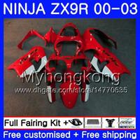 ingrosso kit per carenatura zx9r-Corpo per KAWASAKI NINJA ZX 900 9 R ZX 9R 2000 2001 2002 2003 216HM.42 ZX900 fabbrica rosso caldo ZX-9R 900CC ZX9 R ZX9R 00 01 02 03 Kit carene