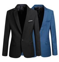 ingrosso blazers coreani di moda-Nuovo arrivo singolo pulsante Blazers per il tempo libero da uomo Giacca maschile moda coreana Slim Fit casual blu scuro blu Blazer abbigliamento M-XXXXL