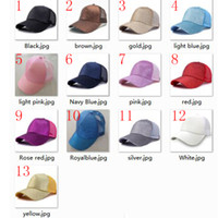 Wholesale ponytail red - CC hat Glitter Ponytail CC Baseball hat camo 28colors for women Girl Softball hats back hole Pony Tail Glitter Mesh Baseball CC Cap