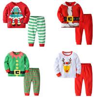 Wholesale designer baby clothes for sale - Baby Christmas Home Clothes Elk Santas Best Buddy Bear Xmas Dress Uniform Printed Long Sleeve Boy Girl Designer Clothing Sets Pajama Outfits