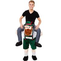 erwachsene kostüm tragen outfit großhandel-Neue Halloween Bär Orang-Utan Schwein Gefüllte Carry Back Fahrt Auf Maskottchen Kostüm Party Kostüm Erwachsene Outfit Für Tragen hosen BS