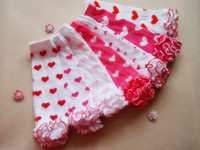 Wholesale Baby Knitted Leggings - Fashion Baby Infant ruffle Leg stockings warm heart Knee socks Children Knitted Leggings Socks top quality
