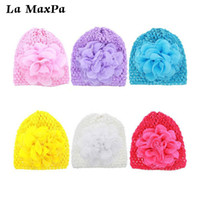 Wholesale flower girls hat sale for sale - Group buy Hot Sale Knit Hat With Chiffon Flower Newborn Baby Girls Infant Toddler Flower Hat Cotton Soft Pink White Cap Sping Autumn