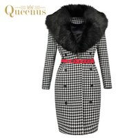 7bdf83e98e2af Wholesale houndstooth hat women online - Queenus Autumn Winter Women  Straight Coat Fur Collar Red Belted