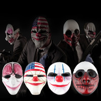 Wholesale cosplay flags for sale - Halloween clown masks Payday2 children clown Cosplay mardi gras Red Head masquerade masks National flag party mask GGA1167