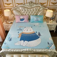 light brown bear 2018 - Cartoon Polar Bear Giraffe Whale Rabbit Summer Sleeping Mat 150*200cm 180*200cm Flat Bed Sheets with Pillowcase
