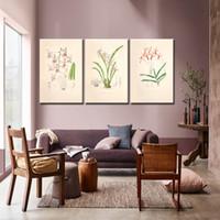 lienzo flor púrpura arte de la pared al por mayor-Decoración del hogar Impresión en lienzo Arte de la pared pinturas de carteles Retro Planta verde hojas Serie pequeña púrpura y rojo Flores Obra de arte