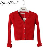 Wholesale White Elegant Cardigans - Wholesale-2016 Autumn Women elegant Knitted short Sweaters Cardigans V-Neck casual stretch fit long Sleeve Brand female tops