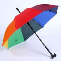 Wholesale umbrellas custom - New Rainbow Color Walking Stick Umbrella Multi-function Anti-skid Elderly Umbrella Outdoor Mountaineering Automatic Umbrella Custom LOGO