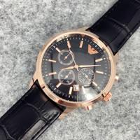 Wholesale big man japan - Fashion stainless Steel Quartz Man Leather watch Japan Movement watches rose gold Wristwatches Brand male clock Brown Big Quartz Clock