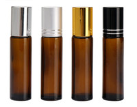 Wholesale wholesale roll perfume - 10ml 1 3oz Thick AMBER Glass Roll On Bottle Essential Oil Empty Aromatherapy Perfume Bottle with Metal Roller Ball Free Ship BY DHL