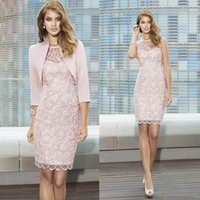Wholesale wedding dresses for bride groom resale online - New Full Lace Mother Of The Bride Gowns Sheer Jewel Neck Knee Length Cocktail Dress For Wedding Mother Groom Dresses With Jacket