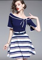 vestido de burbuja con cremallera al por mayor-Summer New Blue Off collar Vestido de dos piezas Traje a rayas Manga corta T-shirt falda burbuja jersey Vestidos ocasionales de las mujeres de la cremallera