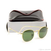 quadros redondos mens venda por atacado-Marca Mens Óculos De Sol Rodada Óculos Designer Eyewear Moldura de Ouro 50mm Lente De Vidro Das Mulheres Óculos De Sol Da Marca Designer óculos de Sol Óculos Redondos