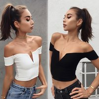 Wholesale loose crop top tanks wholesale - Fashion Women Tank Tops Summer Loose Casual Off Shoulder Shirt Crop Tops Ladies Top Black White Clothes