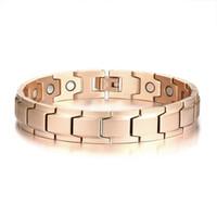 pulsera de elemento de hombre al por mayor-ROSE-GOLD Acabado pulsera de terapia bio magnética para hombres elementos de acero inoxidable brazalete de energía joyería masculina