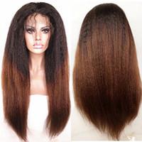 bakire kinky düz dantel peruk toptan satış-Bakire Brezilyalı Insan Saçı Dantel Ön Peruk Ağır Yaki Düz 1BT # 30 Ombre Sapıkça Düz Tam Dantel Peruk