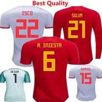camis largo al por mayor-Camiseta de fútbol de España ISCO ASENSIO de Fútbol Copa Mundial de 2018 España Inicio Uniformes Rojos Fabregas Iniesta Silva Romas Moratta camis de manga larga