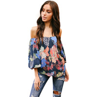 d29b243d5057 2018 Spring Summer Casual Blouse Shirt Women Sexy Off Shoulder Chiffon  Blouses Flare Long Sleeve Flower Printed Blouses Tops. 49% Off