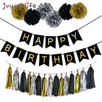 Wholesale happy baby ball resale online - Grand Event Joy Enlife Birthday Party Decoration Paper Flower Ball Tassels Boy Girl Happy Birthday Banner Baby Shower Kids Party Supplies