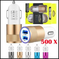 Wholesale mini car set resale online - 500pcs USB Cable Mini Car Charger Set Port Metal Led Power Plug Travel Adapter Phone Chargers for Samsung Xiaomi MP4