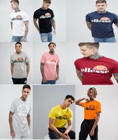 Wholesale top tees brand - Ellesse Mens Classic Prado Print Logo T-Shirt fashion brand Top Tee Optic 100% Cotton Print Mens Summer O-Neck Animal