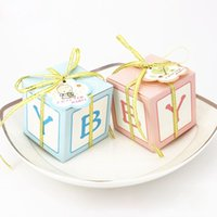 Wholesale Children Baby Shower Candy Box with Ribbon Tag Cute Paper Gift Bag for Boys Girls Birthday Party