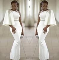 Wholesale mermaid dress stones online - 2018 Africa One Shoulder Satin Mermaid Evening Dresses Ruffles Beaded Stones Split Floor Length Formal Party Prom Dresses BA9836