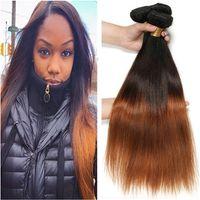 schwarze kastanienbraune haarverlängerungen großhandel-# 1B / 4/30 Schwarzbraun und Auburn 3Tone Ombre Hair Bundles 3Pcs seidige gerade reine brasilianische Menschenhaar Auburn Ombre Weaves Extensions