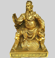 guan yu estátua venda por atacado-Uma estátua de bronze de Guan Gong cobre ornamentos Buddha Livro Guan Yu Guan Er Ye Wu Deus da riqueza