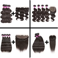 Wholesale afro kinky straight hair - Frontal with Bundles Afro Kinky Curly Hair Deep Wave Brazilian Body Wave Weave Water Wave Straight Hair Bundles with Closure Or Lace Frontal