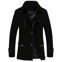ingrosso windbreaker di cotone da uomo-Brand New Autunno Trench Coat Mens cotone maschile giacca casual da uomo giacca a vento cappotto soprabito Cappotto SIZE 4XL