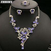 ожерелье из ожерелья оптовых-Природные синий танзанит драгоценный камень ювелирные наборы подлинной твердых стерлингового серебра 925 женщин кольцо ожерелье серьги ZHHIRY