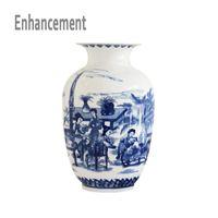 Wholesale Porcelain Blue Ceramic Vases - Blue and White Ceramic Vase Design Porcelain Flower Ancient Chinese Figure Story Pattern Vase Handmade Jingdezhen Flower Vases