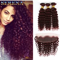 Wholesale Red Curly - 99J Deep Wave Hair With 13x4 Lace Frontal Brazilian Virgin Hair Deep Wave Curly 99j Wine Red Hair 3 Bundles With Closure Burgundy Colored