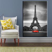 marcos negros para pinturas al óleo al por mayor-1 Unids Impresiones en Blanco y Negro Arte Torre Eiffel Car Lienzo Óleos Pinturas Decoración de La Pared Arte Impresiones Home Decor Pictures No Enmarcado