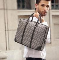 maletín de mujer de negocios al por mayor-Marca de fábrica de los hombres bolso clásico impreso negocio bolso moda profesional hombres y mujeres mano maletín retro contrastar professiona
