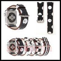 Wholesale dotted bracelet resale online - For Apple Watch Strap Bands Genuine Real Leather Straps Polka Dot Plaid Band mm mm Bracelets With Adapter