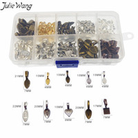 Wholesale pendant glue resale online - Julie Wang Multi Shape Color Mixed Glue on Bail Pendant Clips Jewelry Accessory DIY Finding Free Storage Box