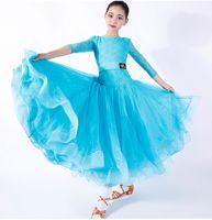 robes transparentes rouges fille achat en gros de-Nouveaux Enfants Filles Ballroom Dance Dress Enfants Moderne Valse Standard Compétition Dentelle Couture À Manches Longues Robe De Danse Bleu Noir Rouge