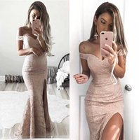 full size party dresses 2018 - 2018 Black Girls Long Mermaid Prom Dresses Off The Shoulder Full Lace Split Formal Party Evening Gowns